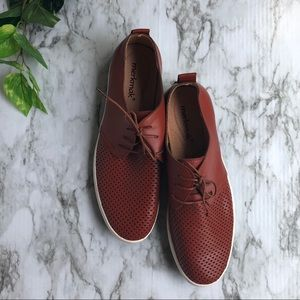 Merkmak Brown Cognac Perforated Leather Boat Shoe